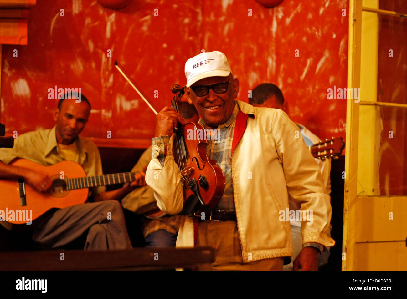 the musician Malaquias Costa performing in Mindelo on Sao Vicente island Cape Verde Africa - Stock Image
