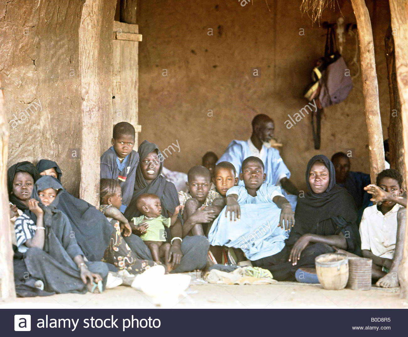 Mali Africa African Villagers Inside Their Hut Home Portrait Family Stock Photo Alamy