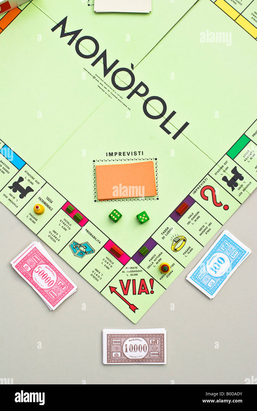 1980s Italian version of famous board game Monopoly - Stock Image