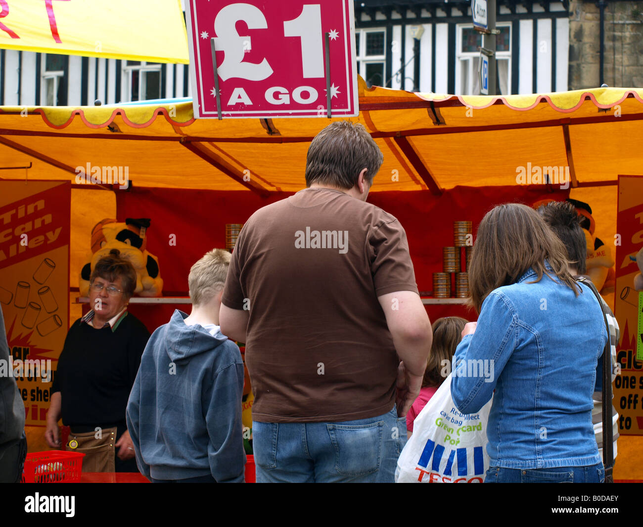 A pound a go stall at the ashover carnival,derbyshire,uk. - Stock Image