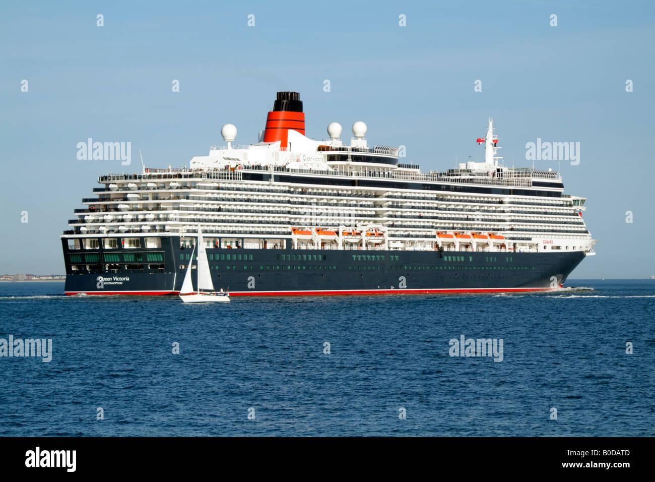 Cunard Company Cruise ship the Queen Victoria Southampton Water UK - Stock Image