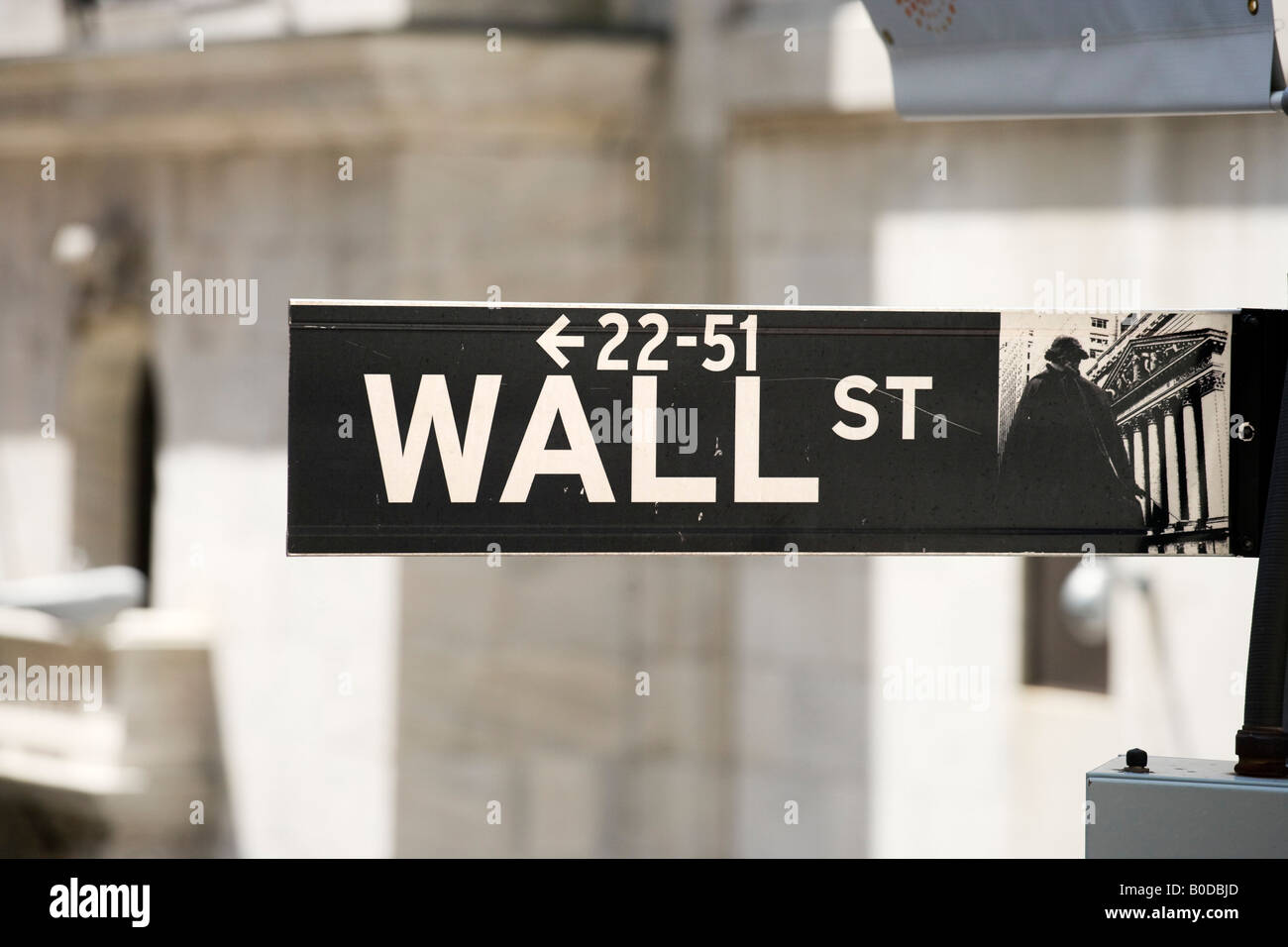 Wall Street sign in front of the New York Stock Exchange (NYSE), Wall Street, Financial District, NYC, New York - Stock Image