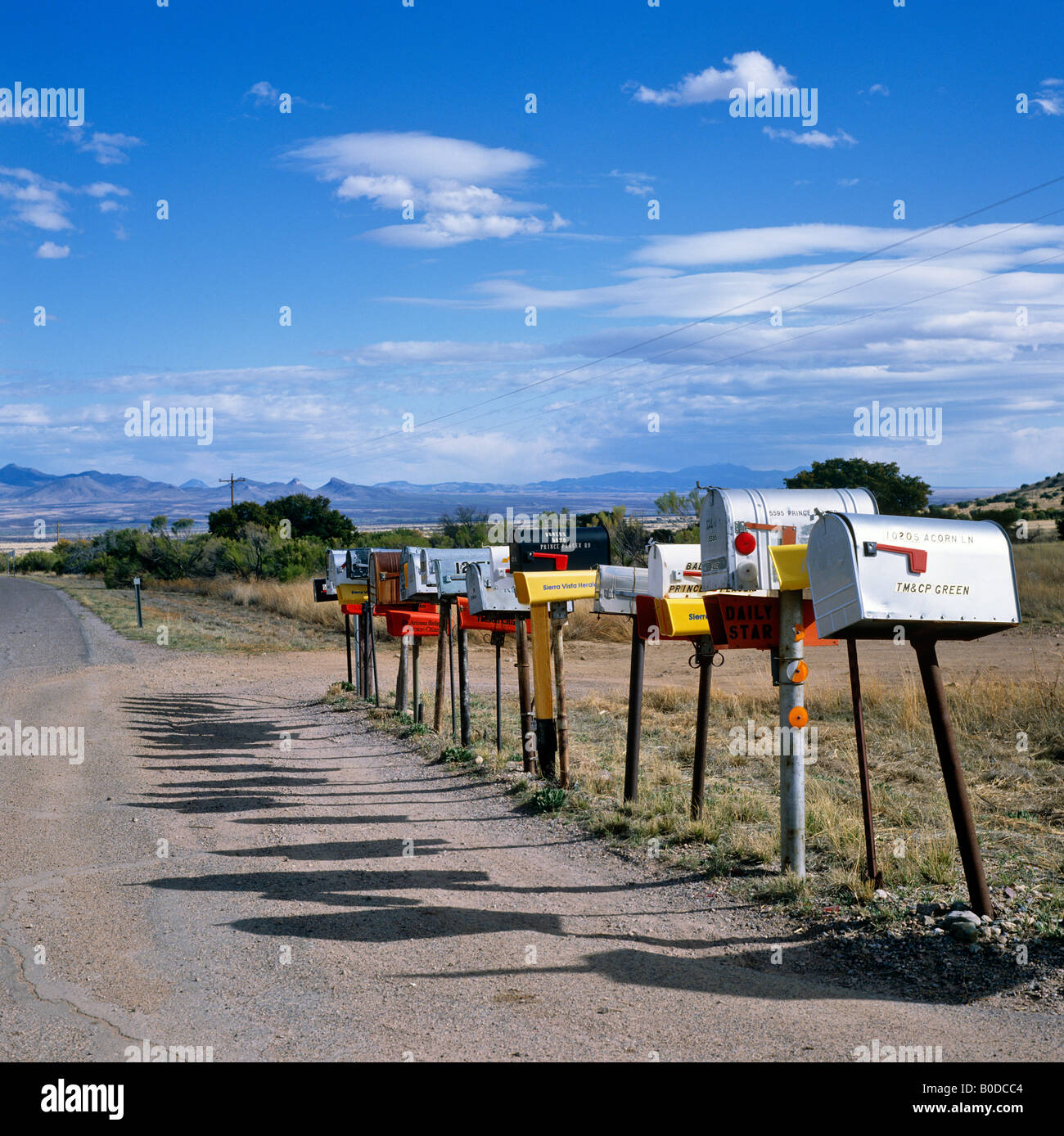 Row postal boxes, Arizona, USA - Stock Image