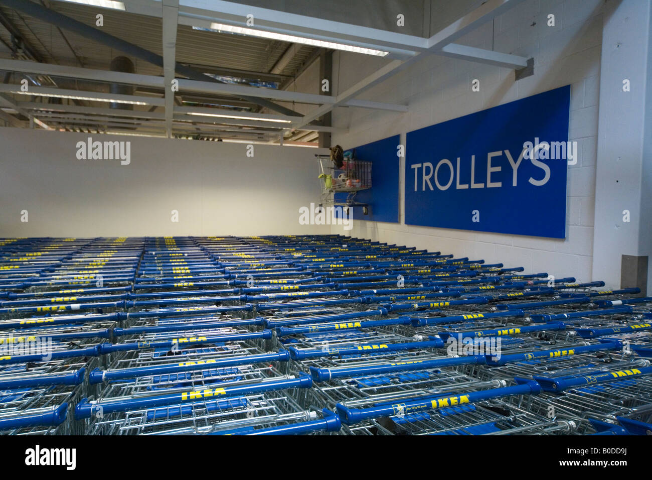 Trolley collection point IKEA store Croydon London UK - Stock Image