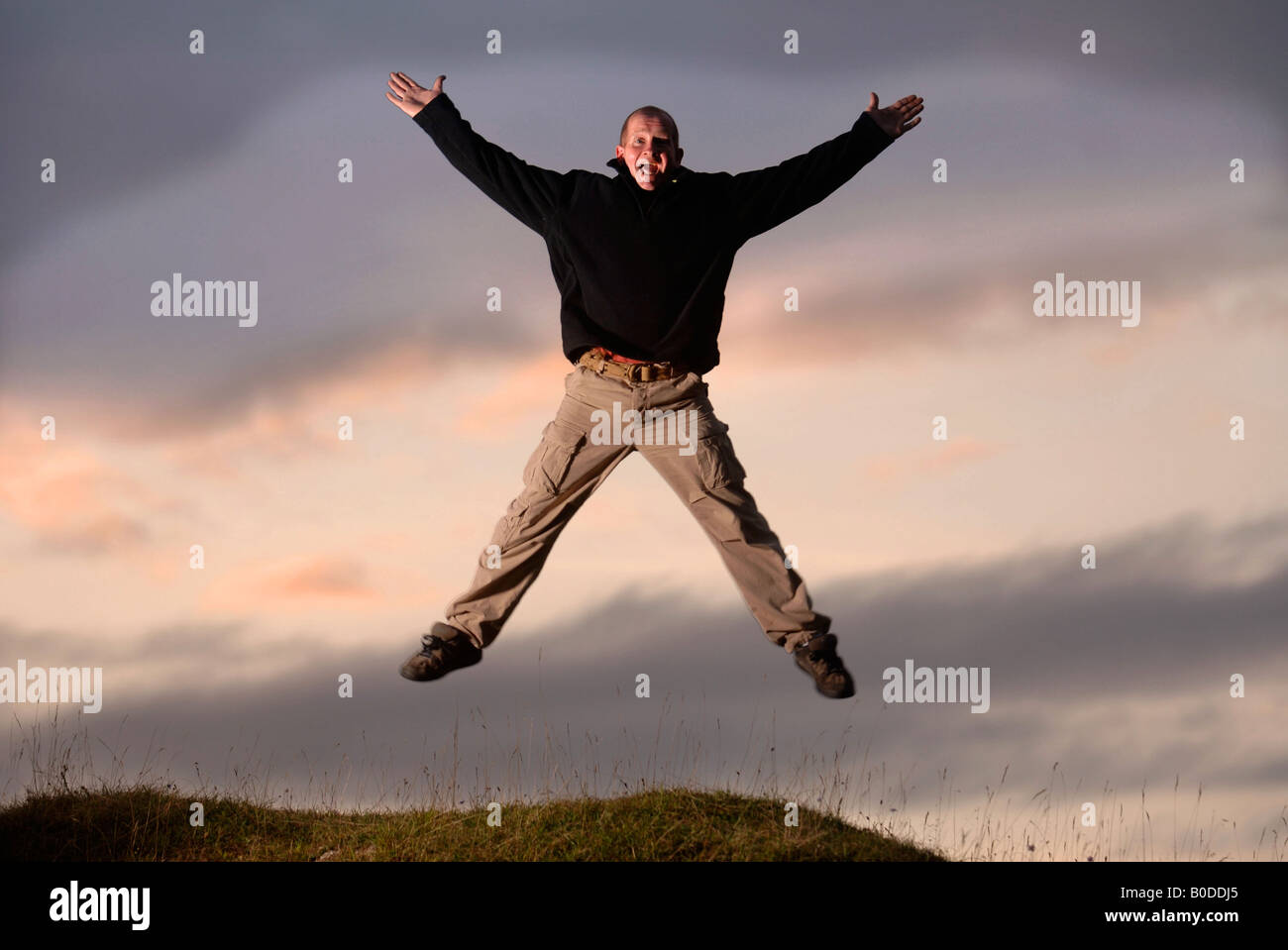 THE FORMER BRITISH OLYMPIC SKI JUMPER EDDIE THE EAGLE EDWARDS PICTURED ON SELSLEY COMMON NEAR HIS HOME IN STROUD - Stock Image