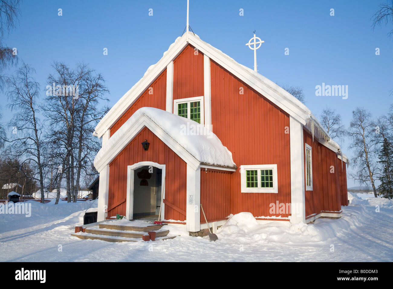 The church of Jukkasjarvi / Northern Sweden - Stock Image