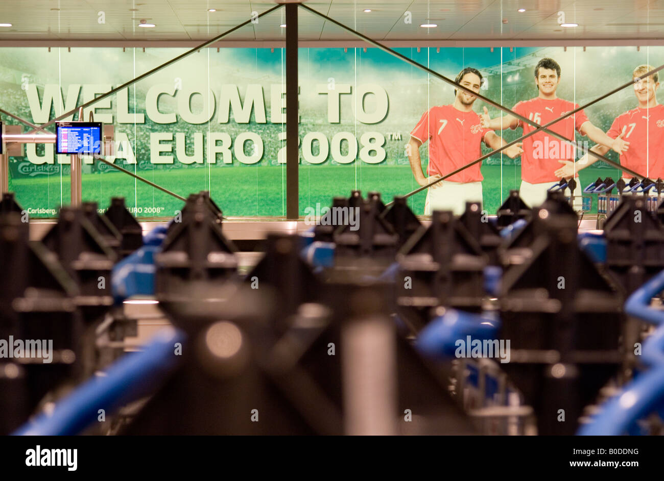 The Zurich airport Baggage claim Carlsberg beer advertising for the UEFA EURO 2008 Austria and Switzerland - Stock Image