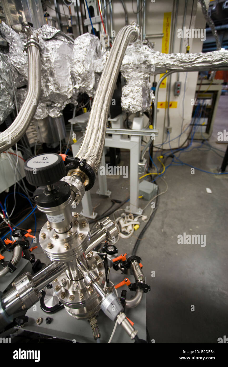Cooling and Cleaning A portion of the synchrotron being cooled and evacuated prior to startup Synchrotron - Stock Image
