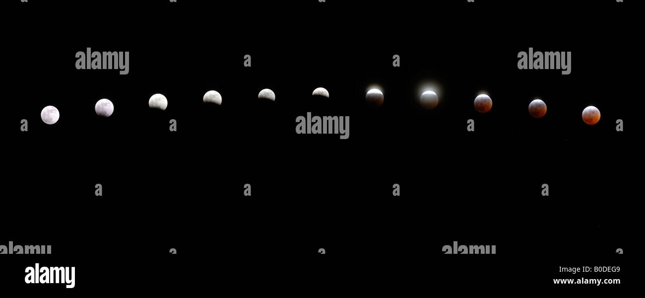 sequence of images showing the lead in to a full lunar eclipse - Stock Image