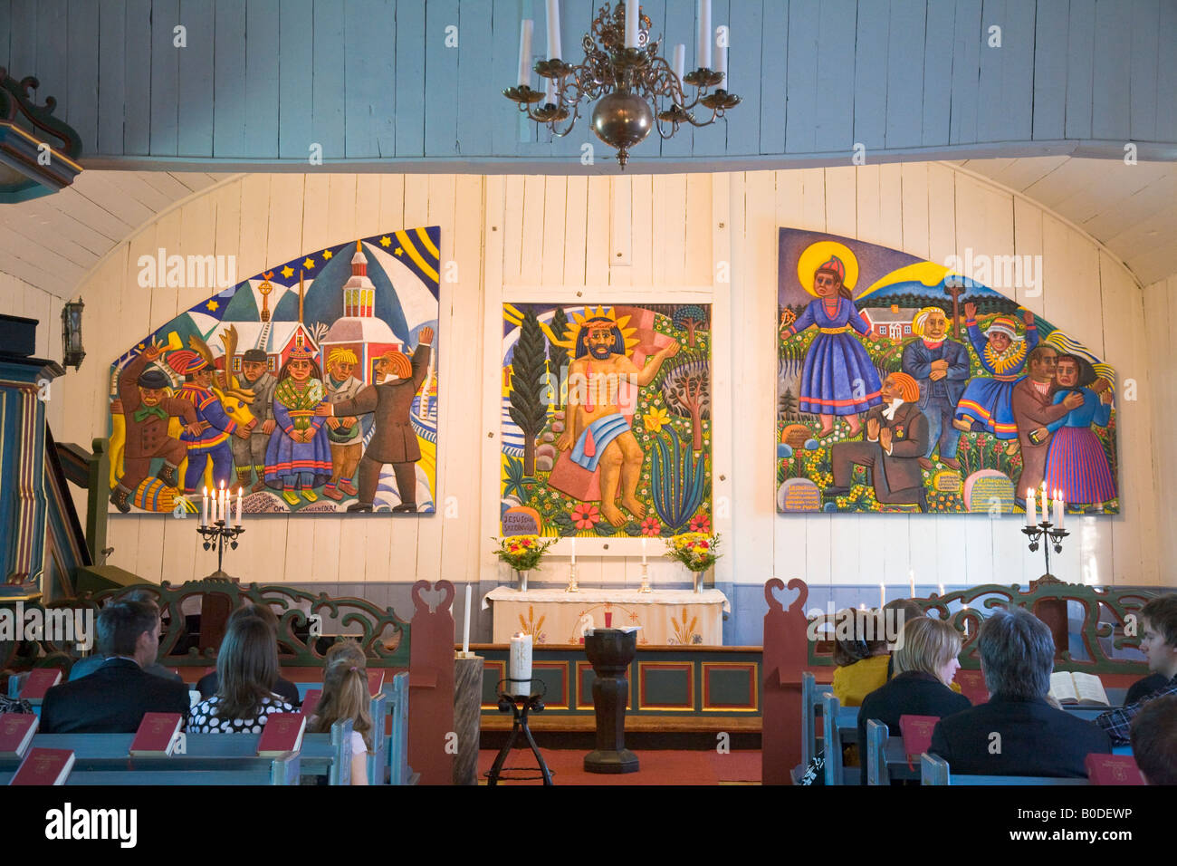 Interior view of the Jukkasjarvi church in Northern Sweden - Stock Image