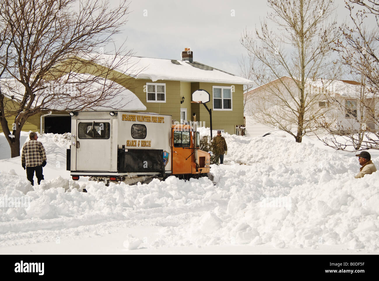 Search and Rescue Sno-Cat ATV working after blizzard in South Dakota - Stock Image