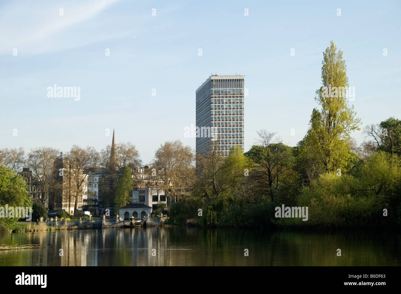 Skyline view of Bayswater, Italian Garden and the Royal summerhouse in Hyde Park, London, W1 City of Westminster, - Stock Image