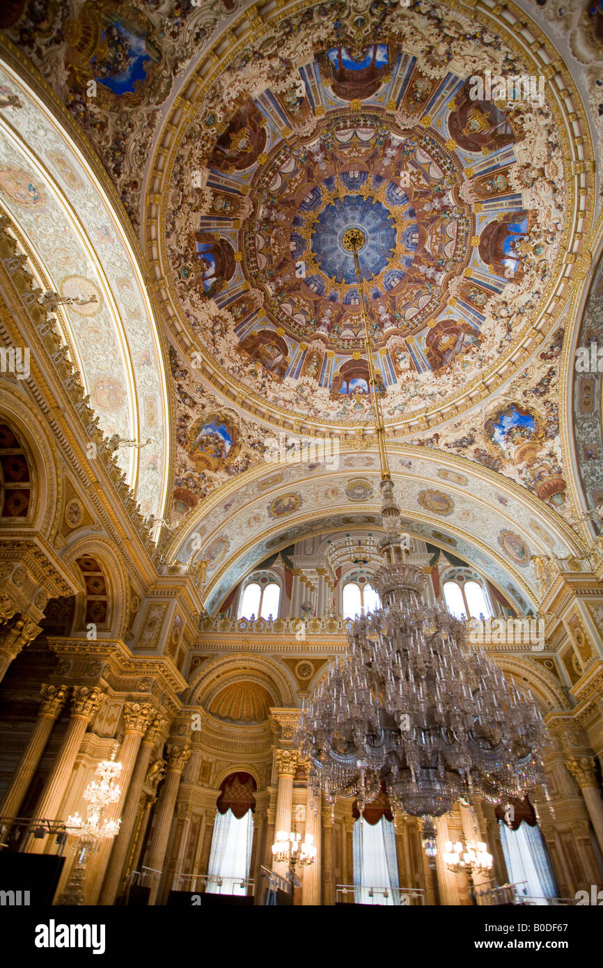 Grand Euro style Ceremonial Hall. The domed decorated ceiling and massive chandelier of the ballroom of this over Stock Photo