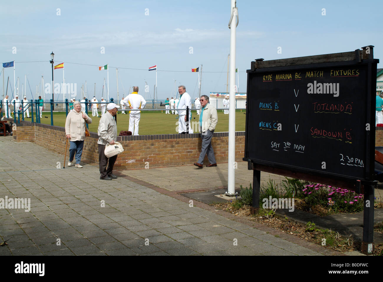 Bowls Match at Ryde Marina Bowls Club Isle of Wight South England UK Match Fixture Board and Spectators - Stock Image