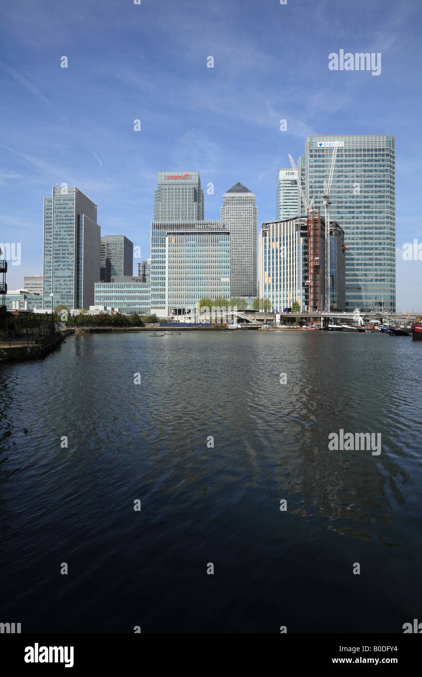 Canary Wharf - Blackwall Basin Docks, Isle of Dogs, London. - Stock Image