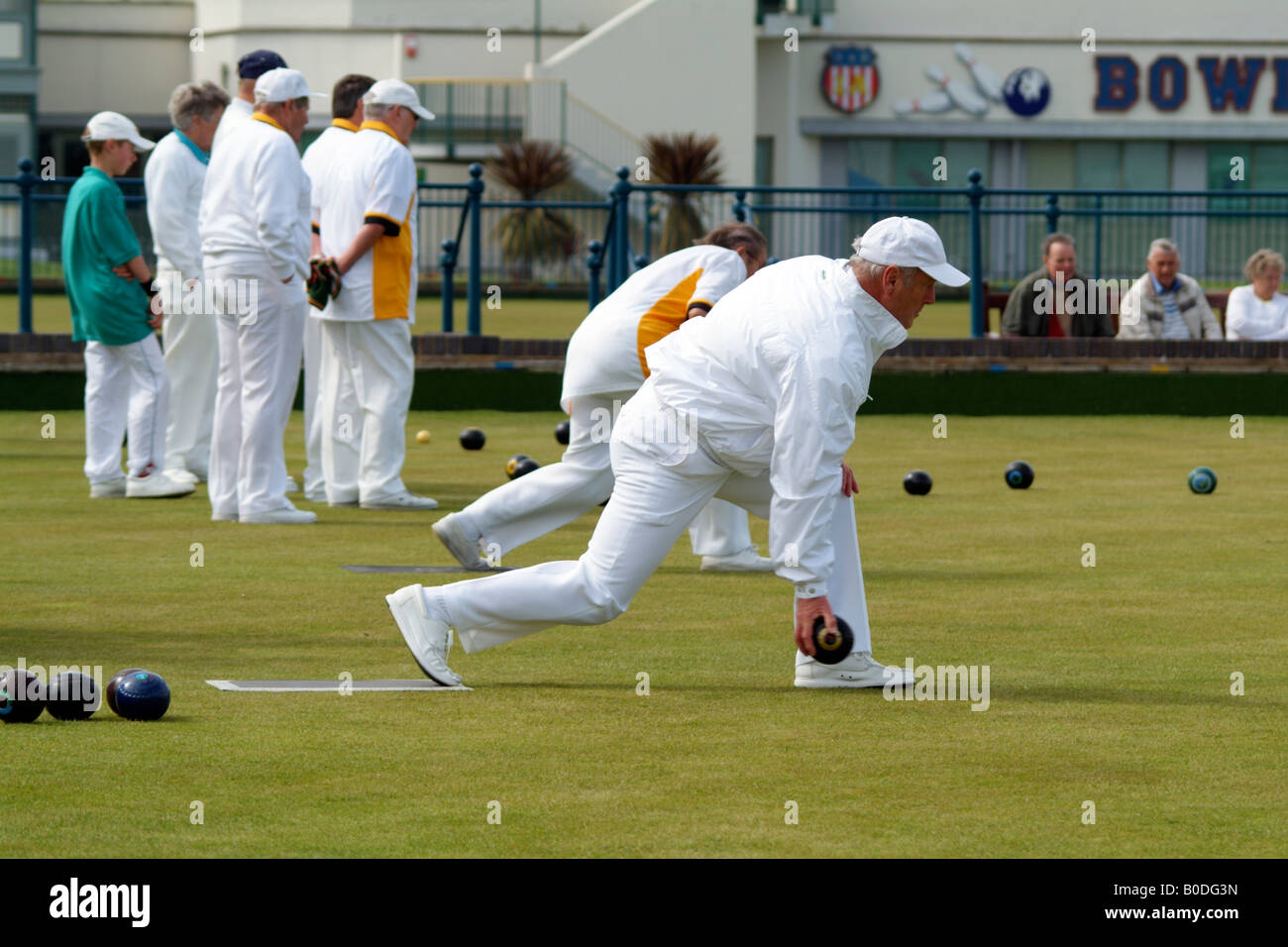 Bowls Match at Ryde Marina Bowls Club Isle of Wight South England UK - Stock Image