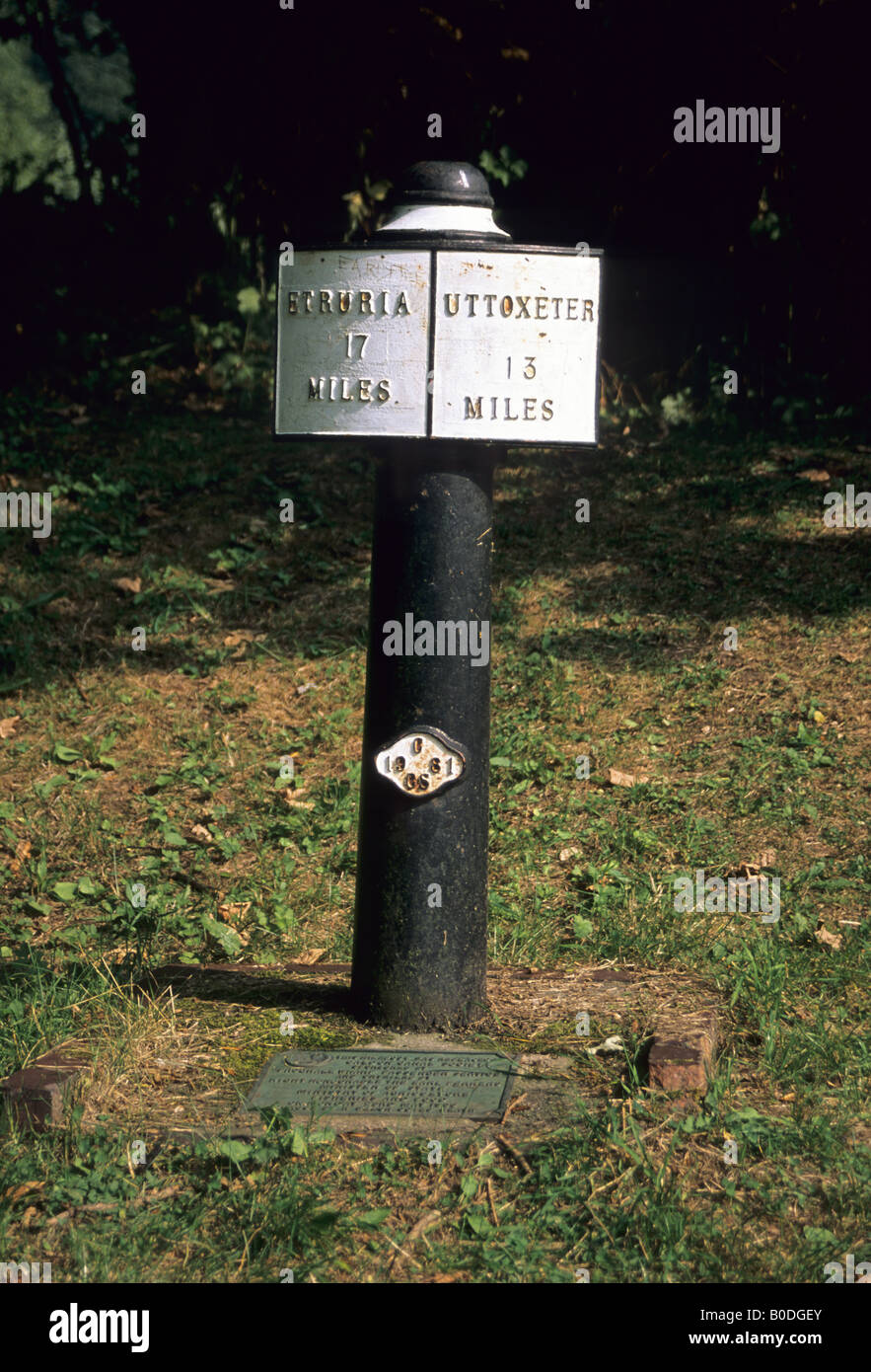 Canal milepost Froghall Wharf Staffordshire England - Stock Image