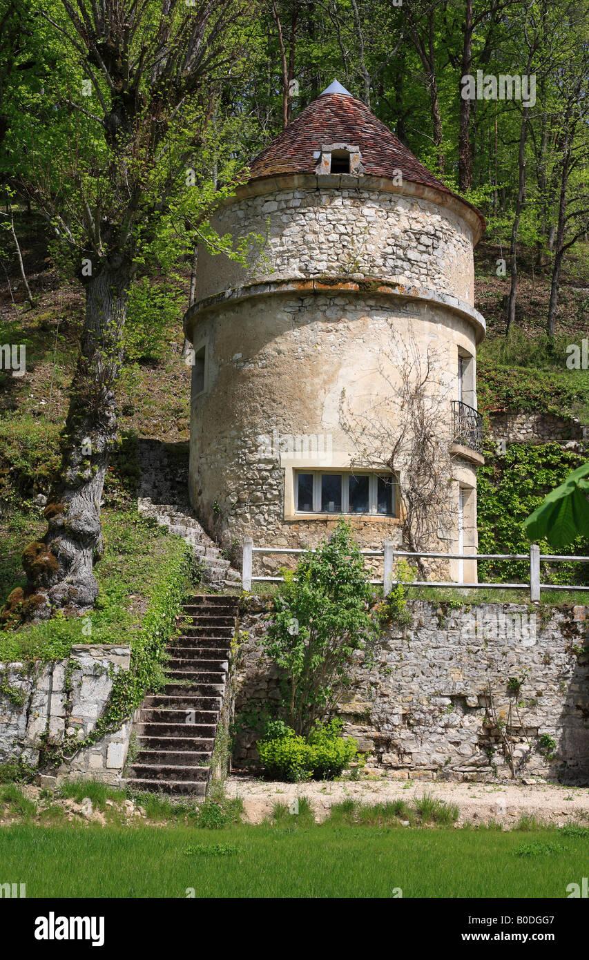 Round Stone Tower, Burgundy, France. - Stock Image