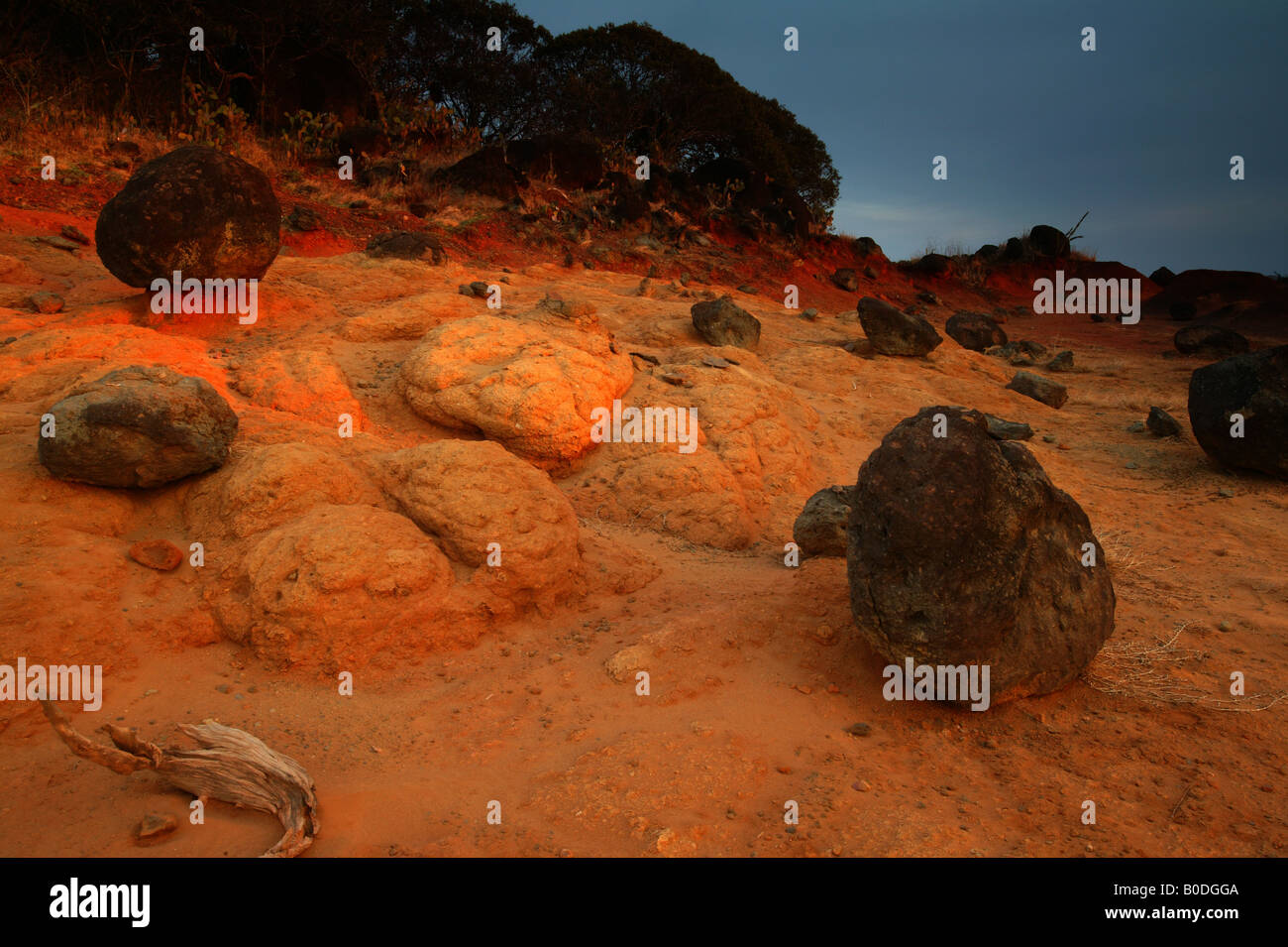Volcanic rocks, and eroded soil in Sarigua national park, Herrera province, Republic of Panama. - Stock Image