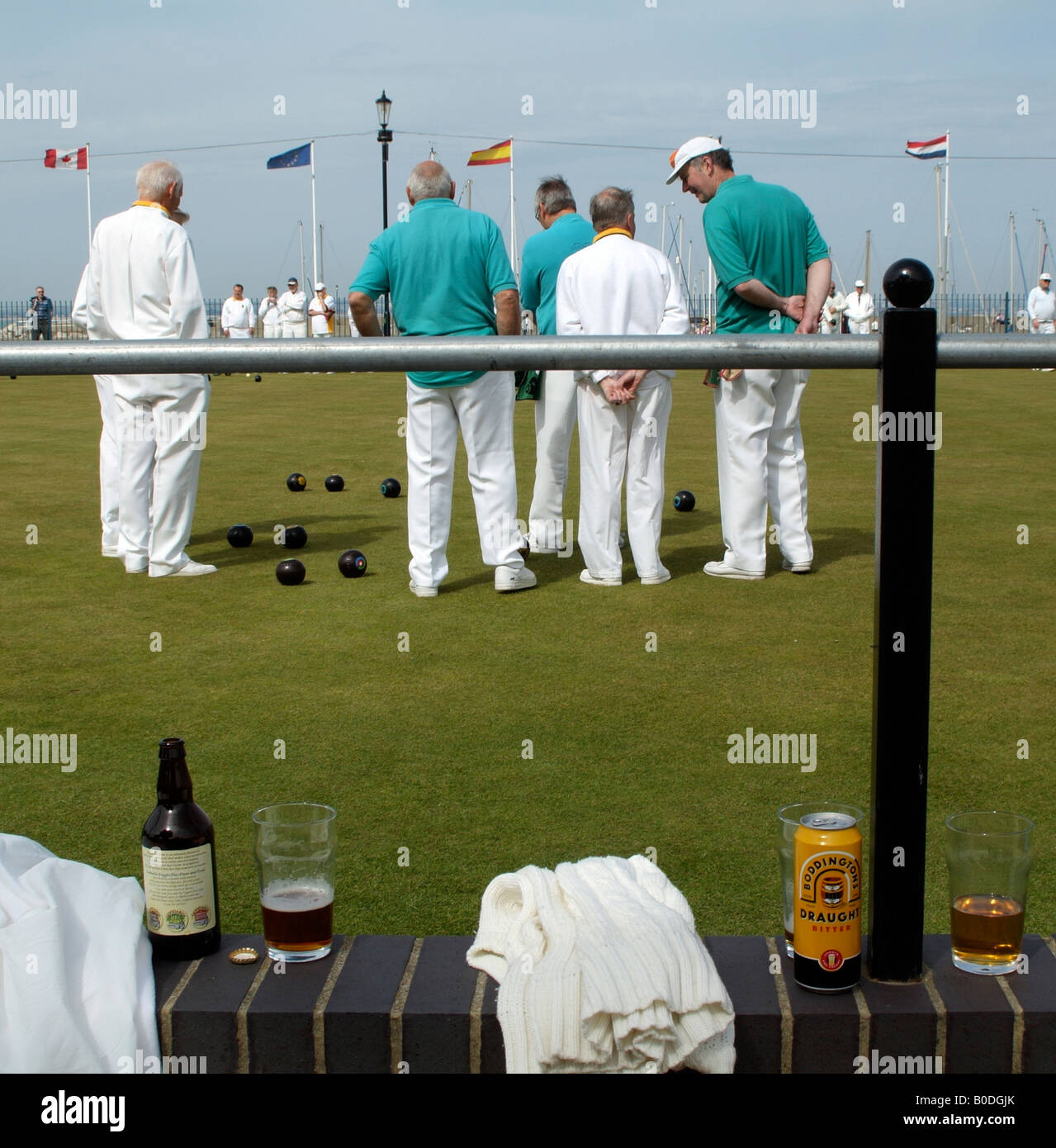 Bowls Match at Ryde Marina Bowls Club Isle of Wight South England UK Beers on the wall for players refreshment - Stock Image