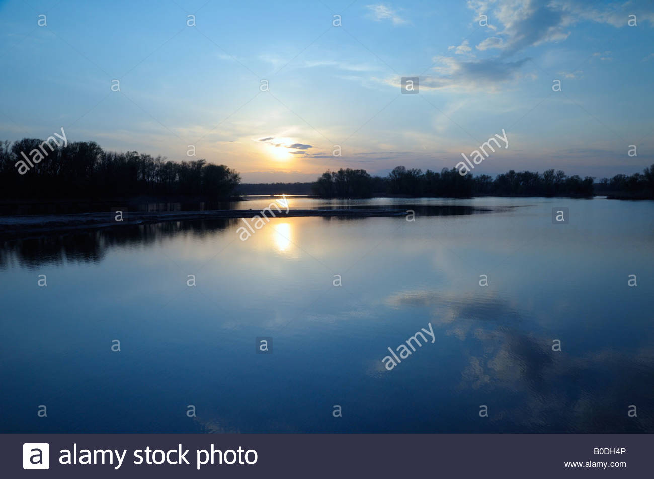 calm sunset on river of Dnieper, Ukraine - Stock Image