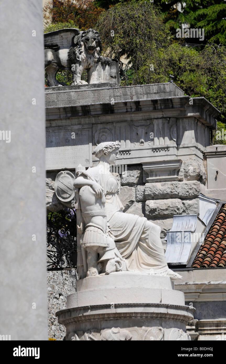 Peace statue in Piazza Liberta - Udine Friuli North Italy - Stock Image