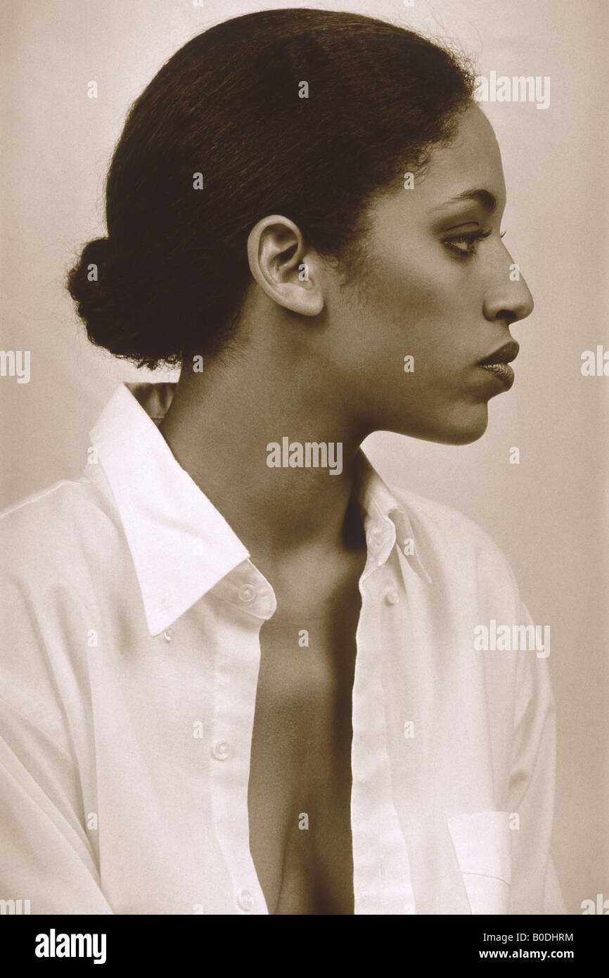 Profile of a black woman - Stock Image