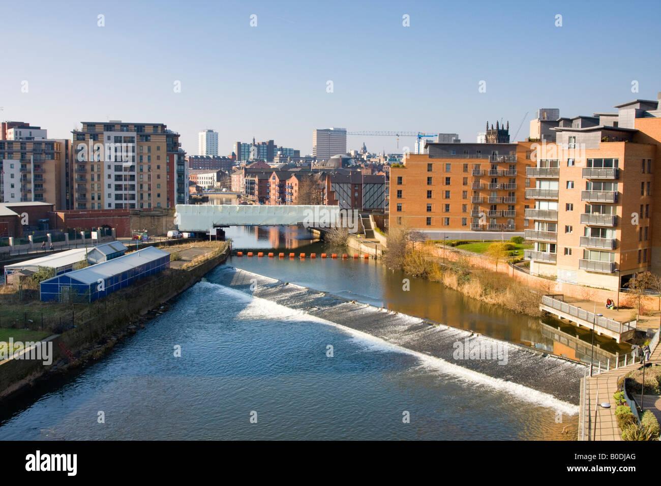 Merchants Quay and River Leeds Yorkshire UK - Stock Image