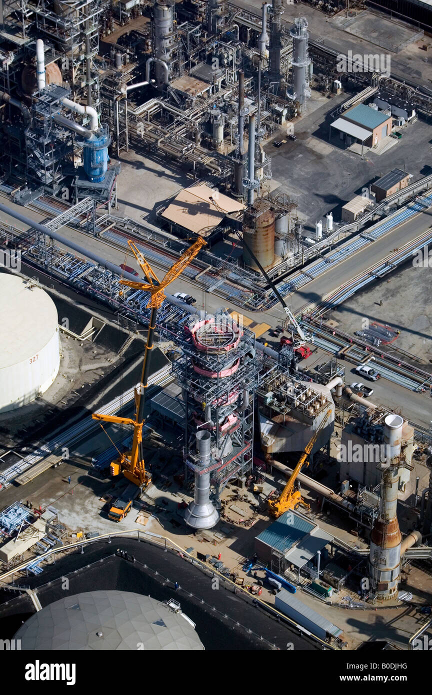 aerial above oil refinery construction Long Beach Los Angeles, California Stock Photo
