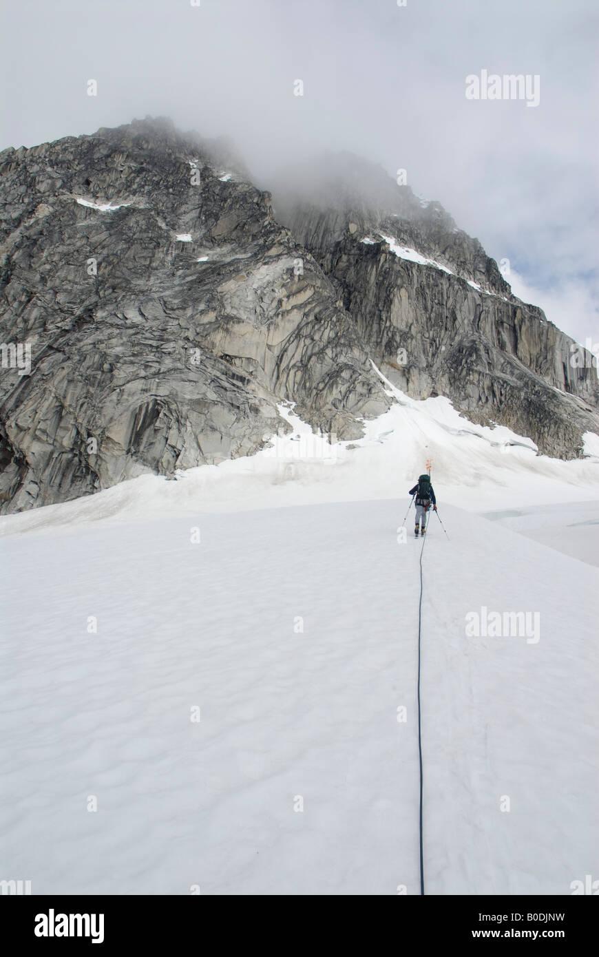 Eric Parsons ski approach to The Throne Little Switzerland Pika Glacier Alaska - Stock Image