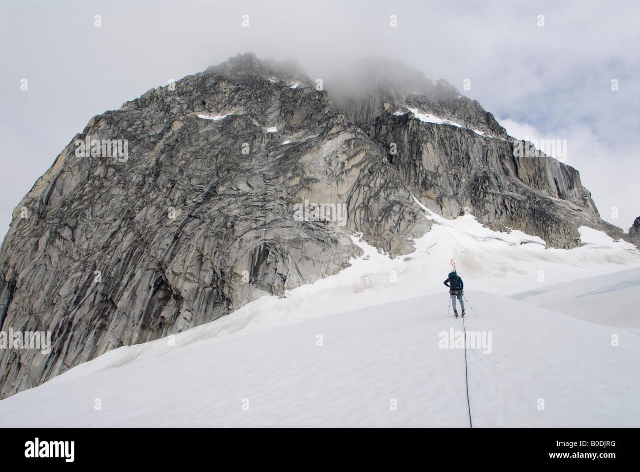 Ski approach to The Throne, Little Switzerland, Pika Glacier, Alaska - Stock Image