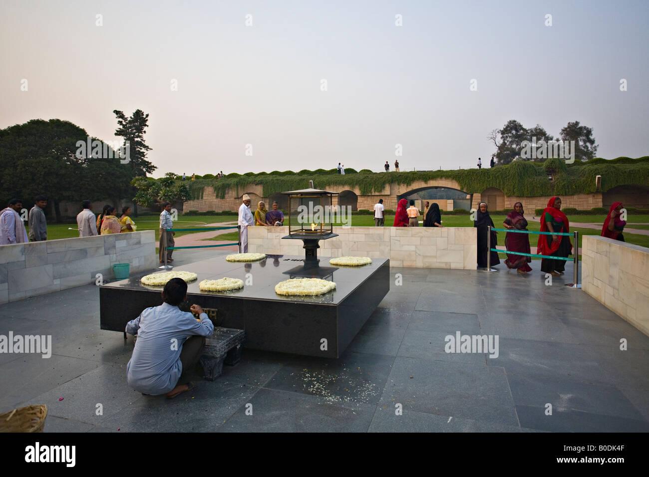 Raj ghat a memorial to Mahatma Gandhi, Delhi, India - Stock Image
