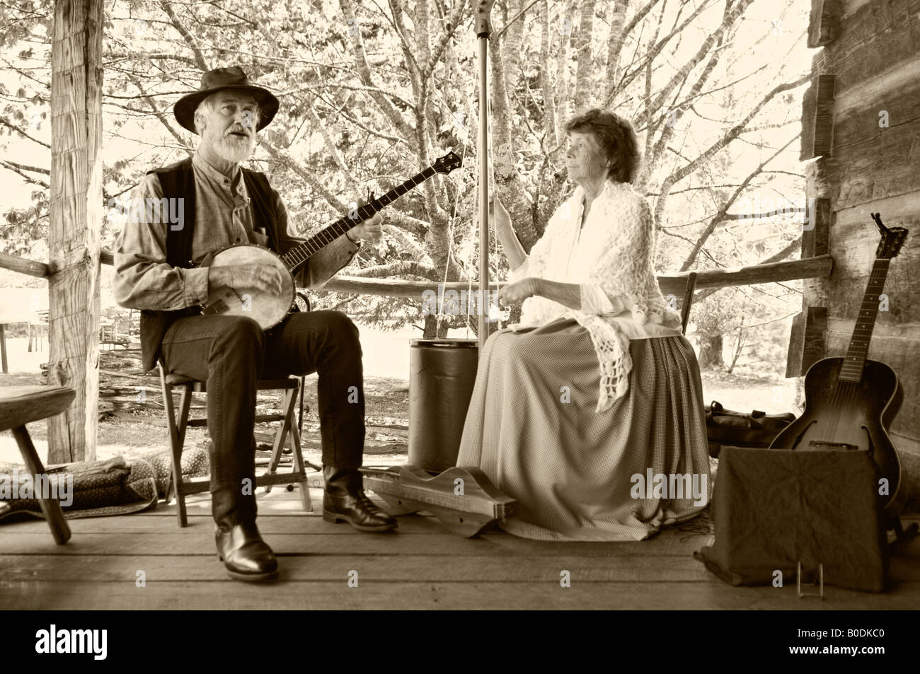 Old Time Country Musicians Performing On Cabin Porch In Cades Cove Great Smoky Mountains National Park Tennessee