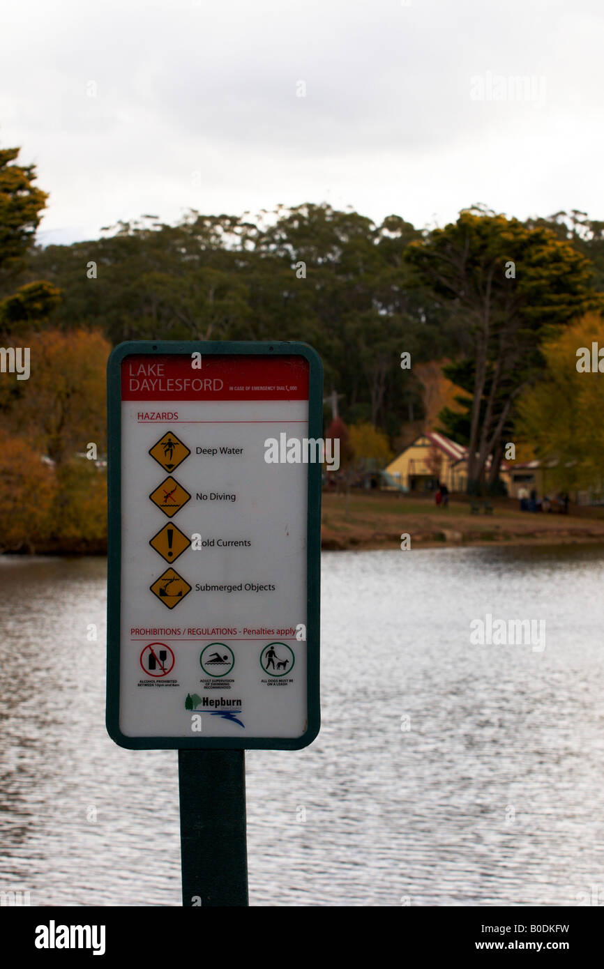 A Sign indicating the hazards at Lake daylesford Victoria Australia. - Stock Image