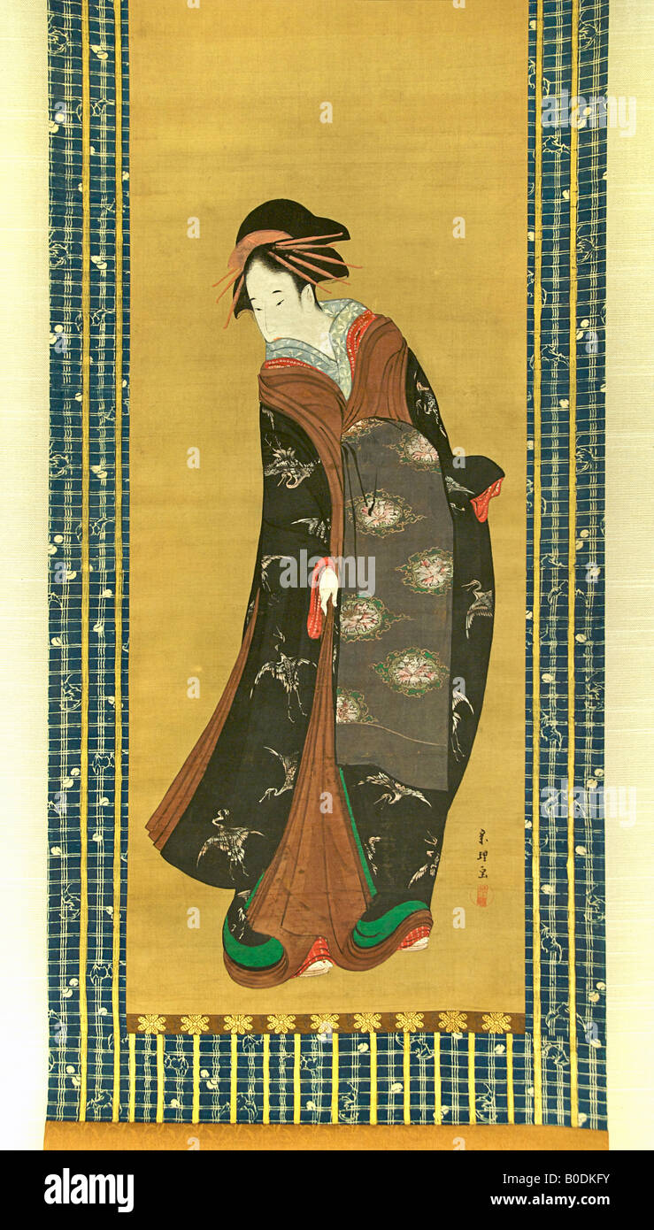 BEAUTY STANDING UP. Painting on silk by Katsushika Hokusai - Stock Image