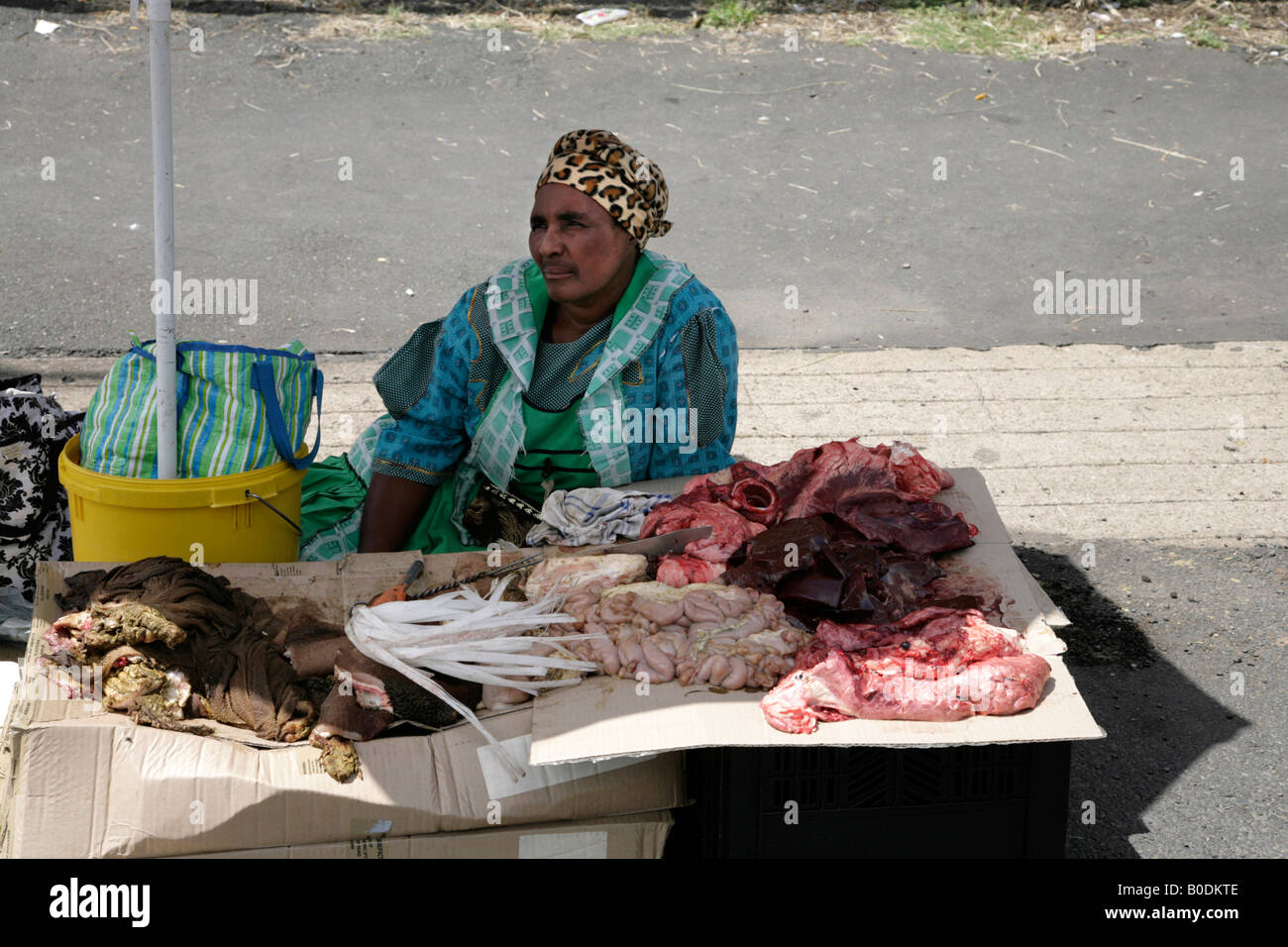 Meat Seller in a South African street market - Stock Image