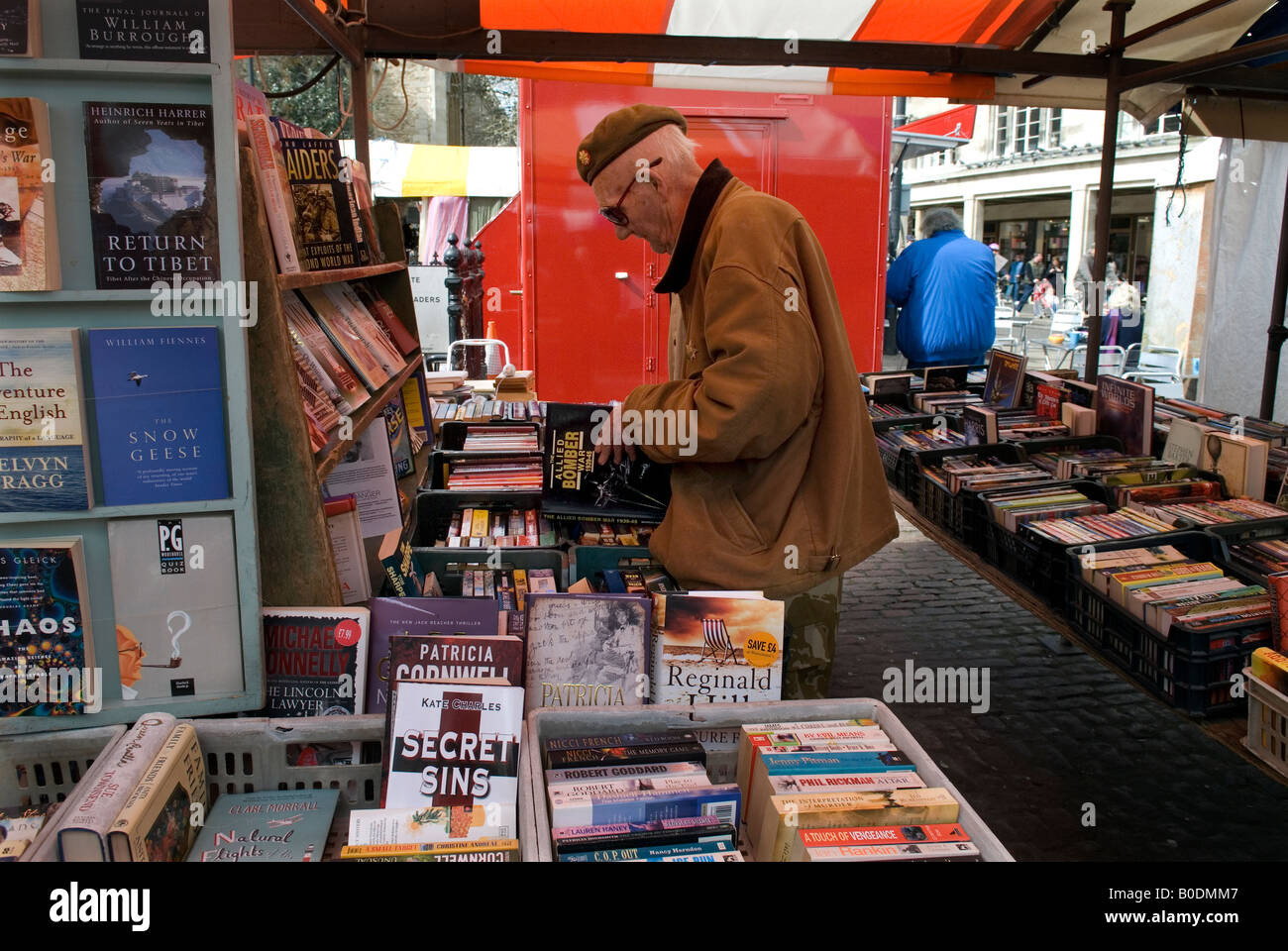 Cambridge Britain Secondhand book stall on Cambridge market  2008 - Stock Image