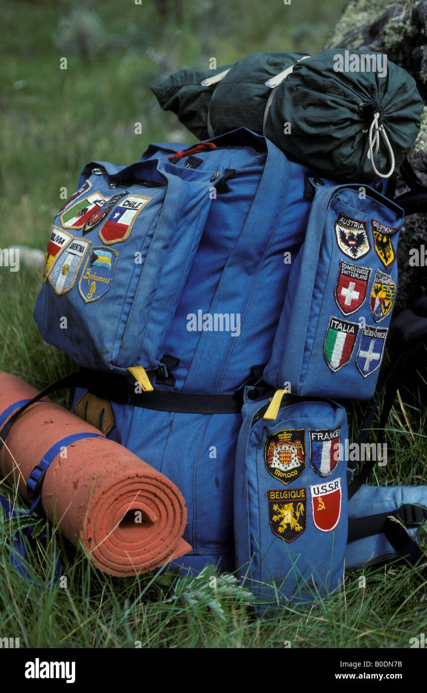 A traveler s backpack with patches recording places visited. - Stock Image