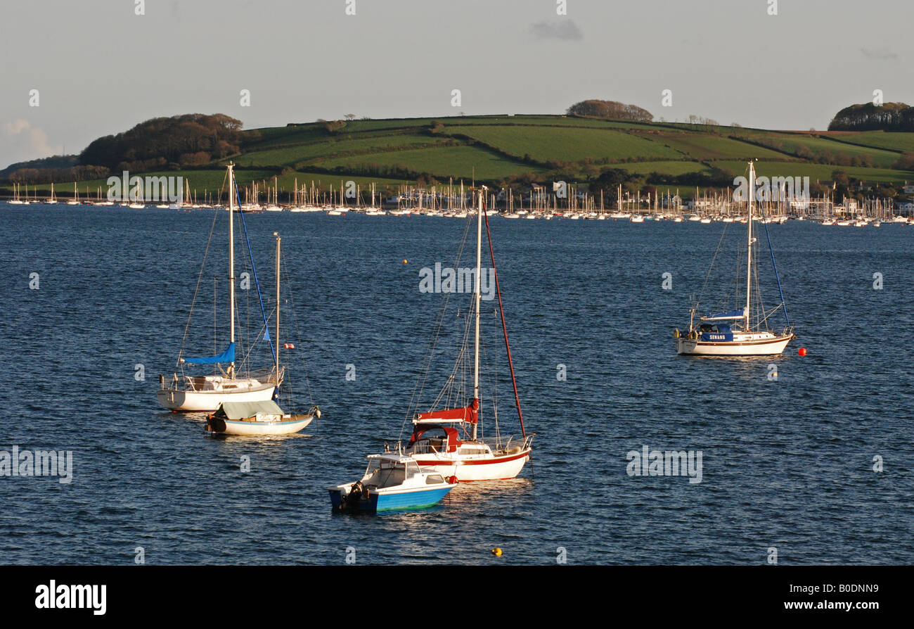 View from Loe Beach of Sailing boats in Carrick Roads, near Feock, Falmouth, Cornwall, England, UK Stock Photo