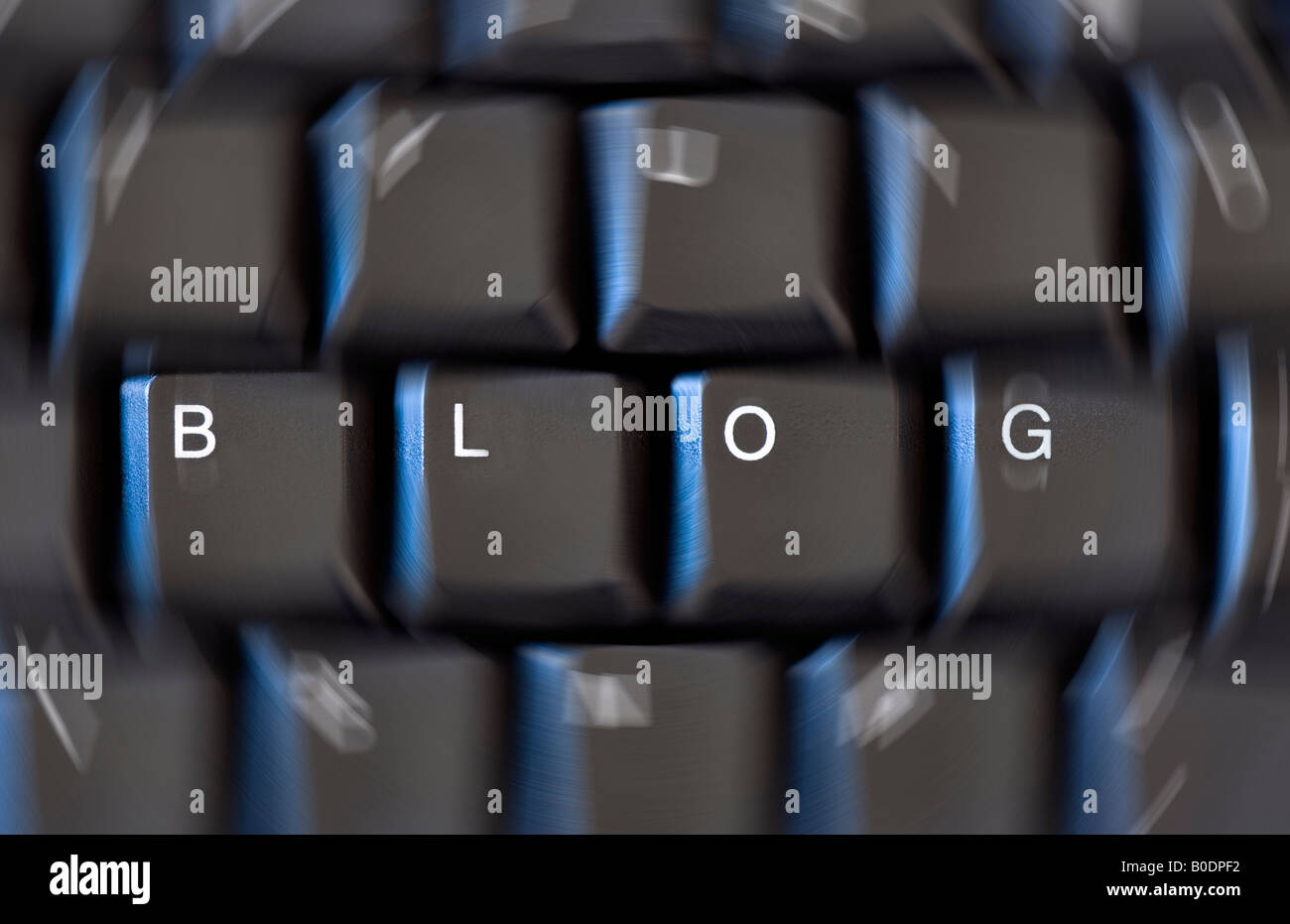 Keys on a computer keyboard spelling the word 'Blog' with a circular blur around the other keys - Stock Image