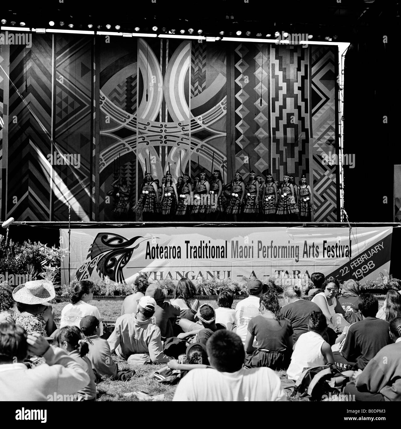 Stage and audience at 1998 Aotearoa Traditional Maori Performing Arts Festival Trentham Race Course Upper Hutt New - Stock Image