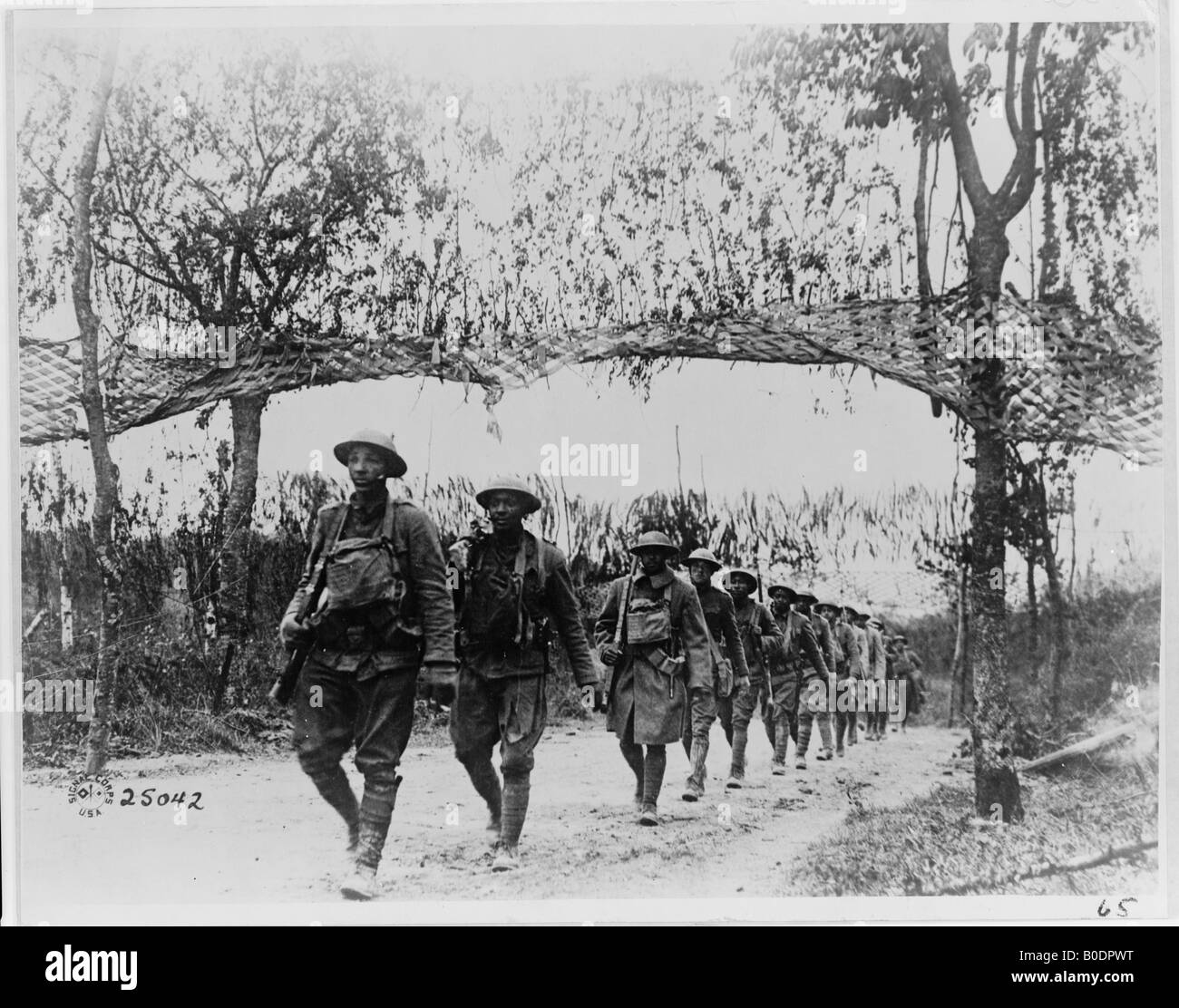 U S Army infantry troops African American unit marching northwest of Verdun France in World War I - Stock Image