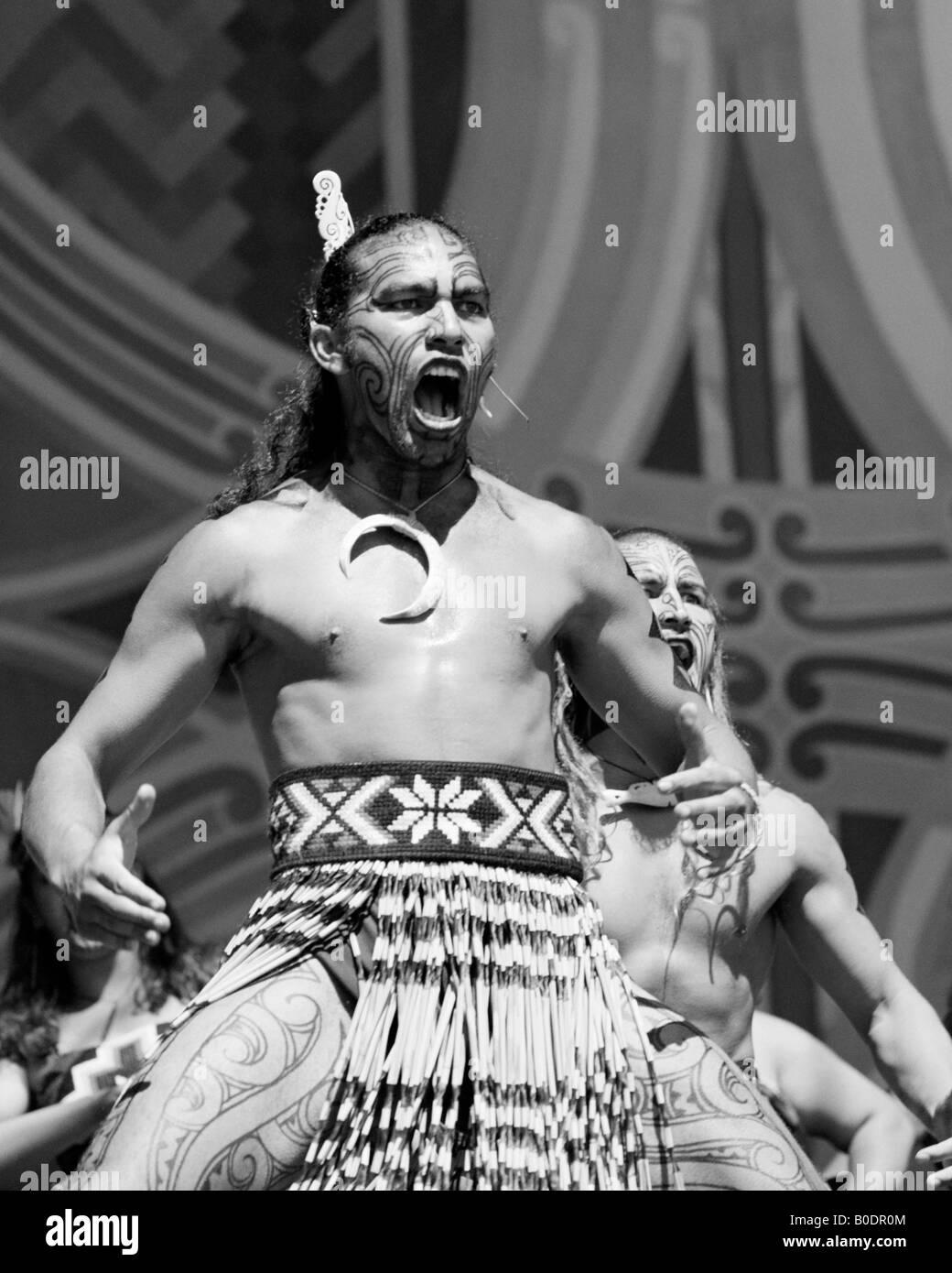 Maori haka performed by Whangara Mai Tawhiti Upper Hutt New Zealand - Stock Image