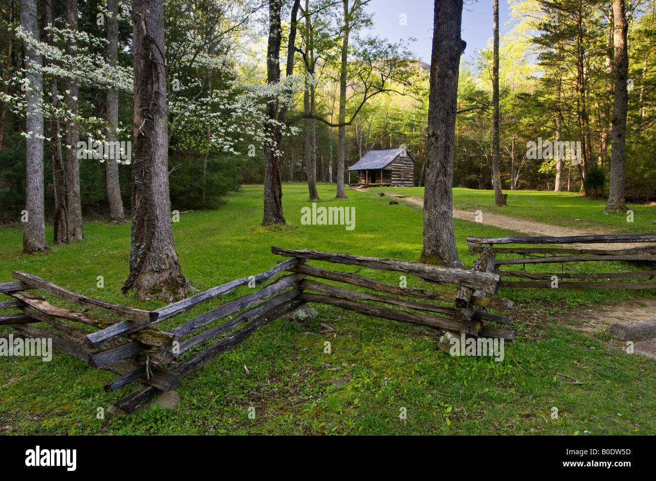 Carter Shields Cabin in Cades Cove Great Smoky Mountains National Park Tennessee - Stock Image