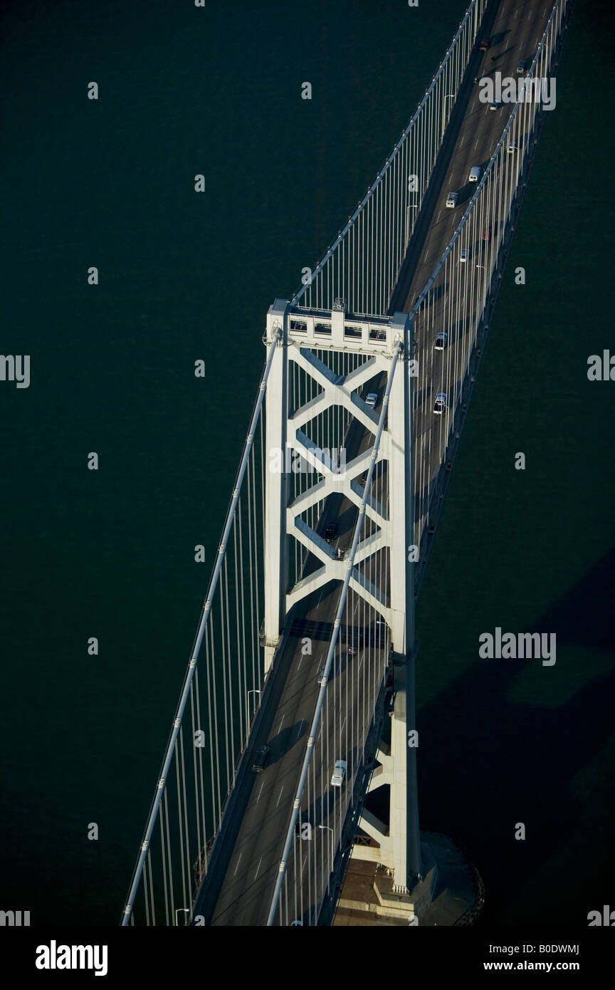 aerial above Bay bridge San Francisco, California - Stock Image