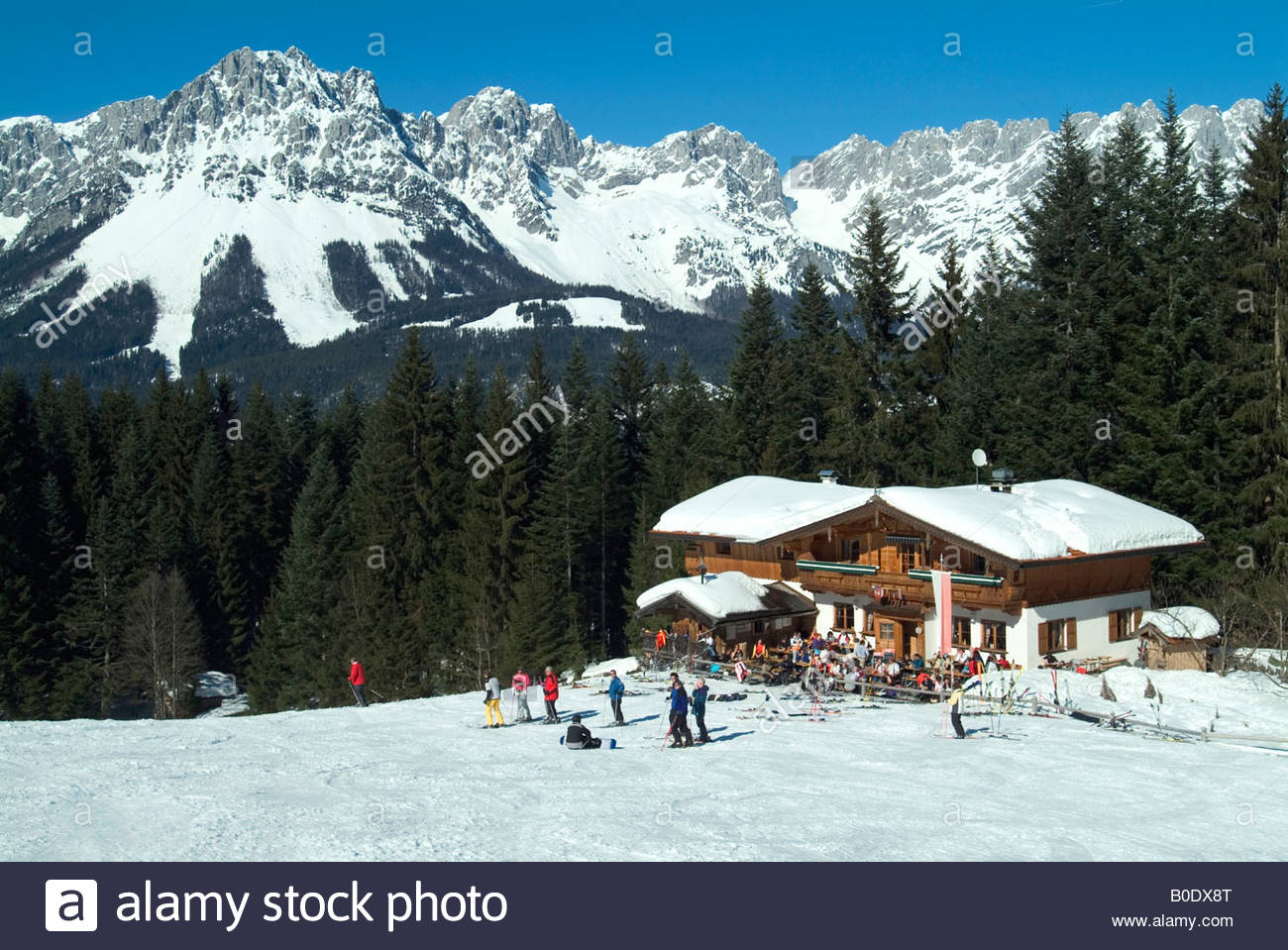 mountaintop chalet/restaurant and bar above ski resort of ellmau