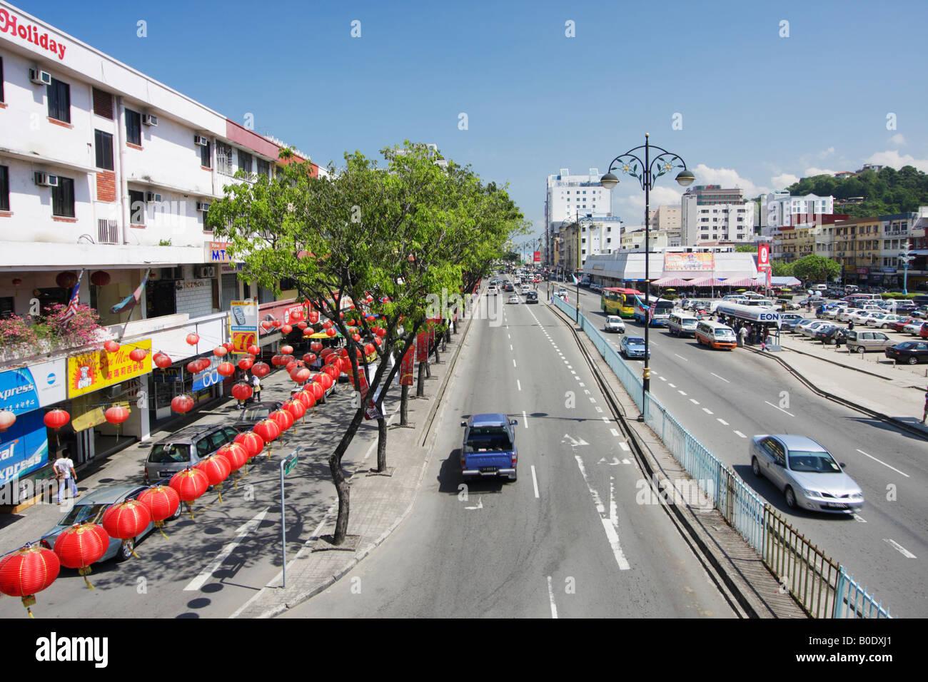 View Of Downtown Kota Kinabalu, Sabah, Malaysian Borneo - Stock Image
