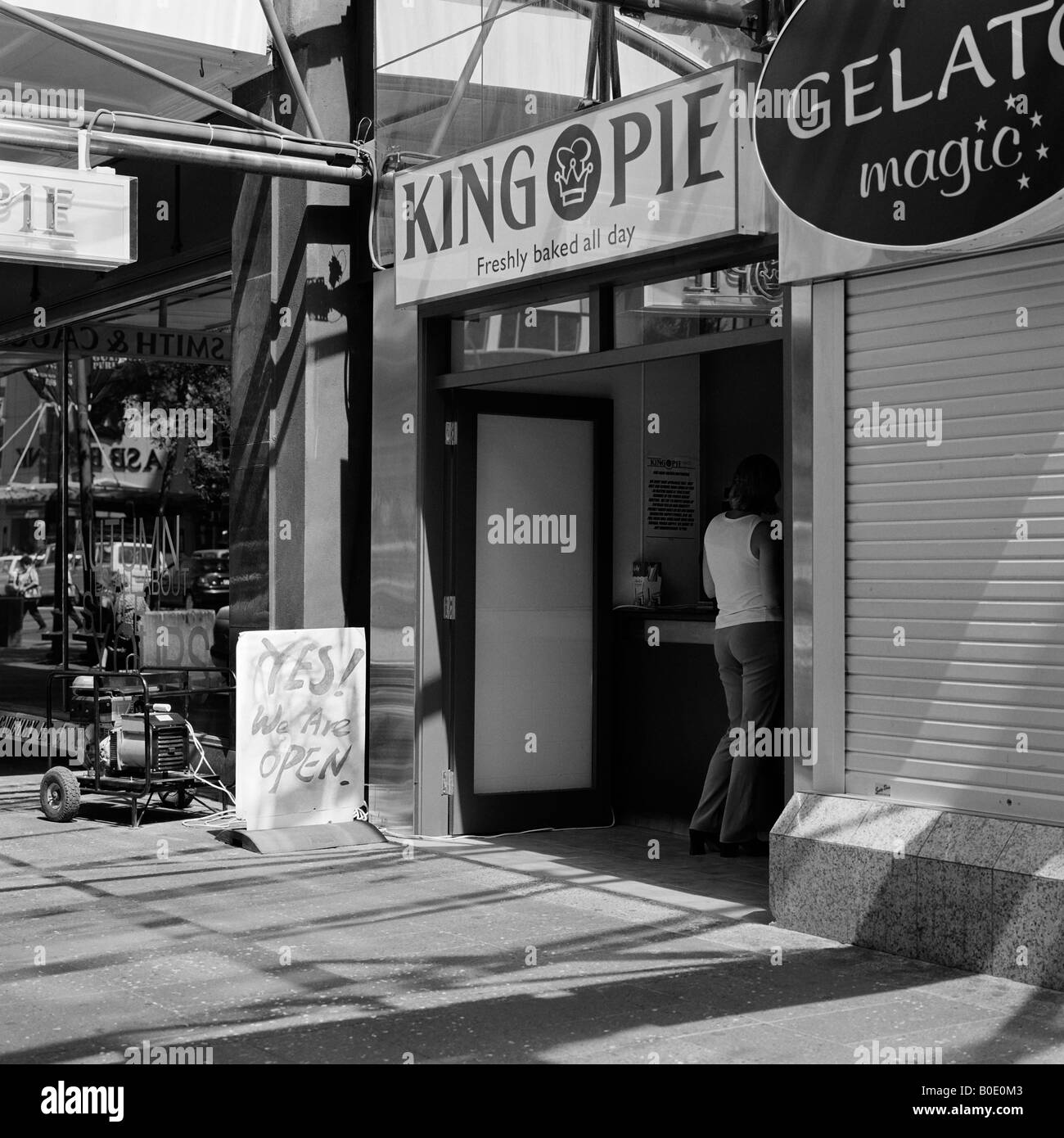 Bakery shop running on portable generator during 1998 power blackout Auckland New Zealand - Stock Image