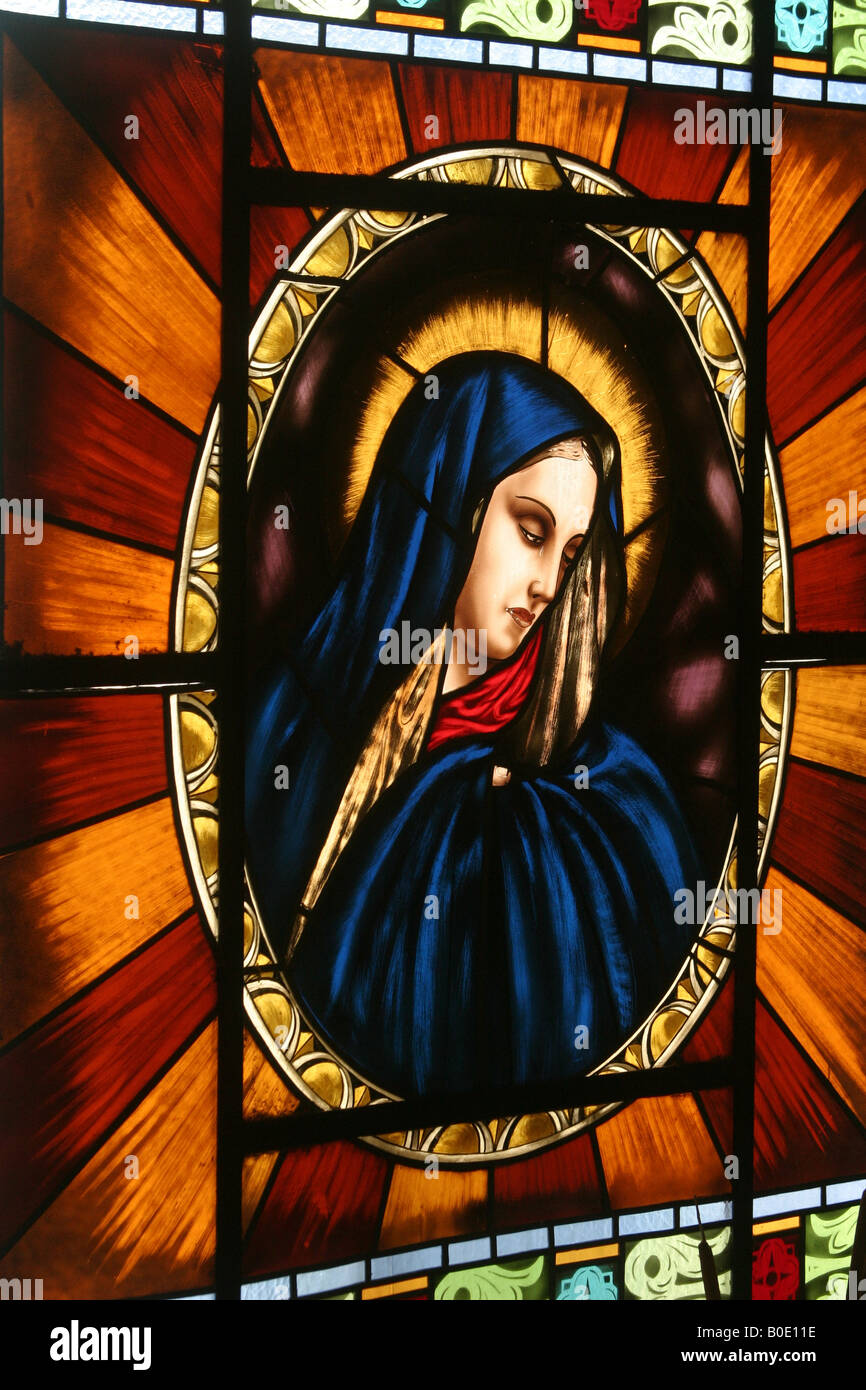Bogota Central Cemetery, crying Virgin Mary glass vitral - Stock Image