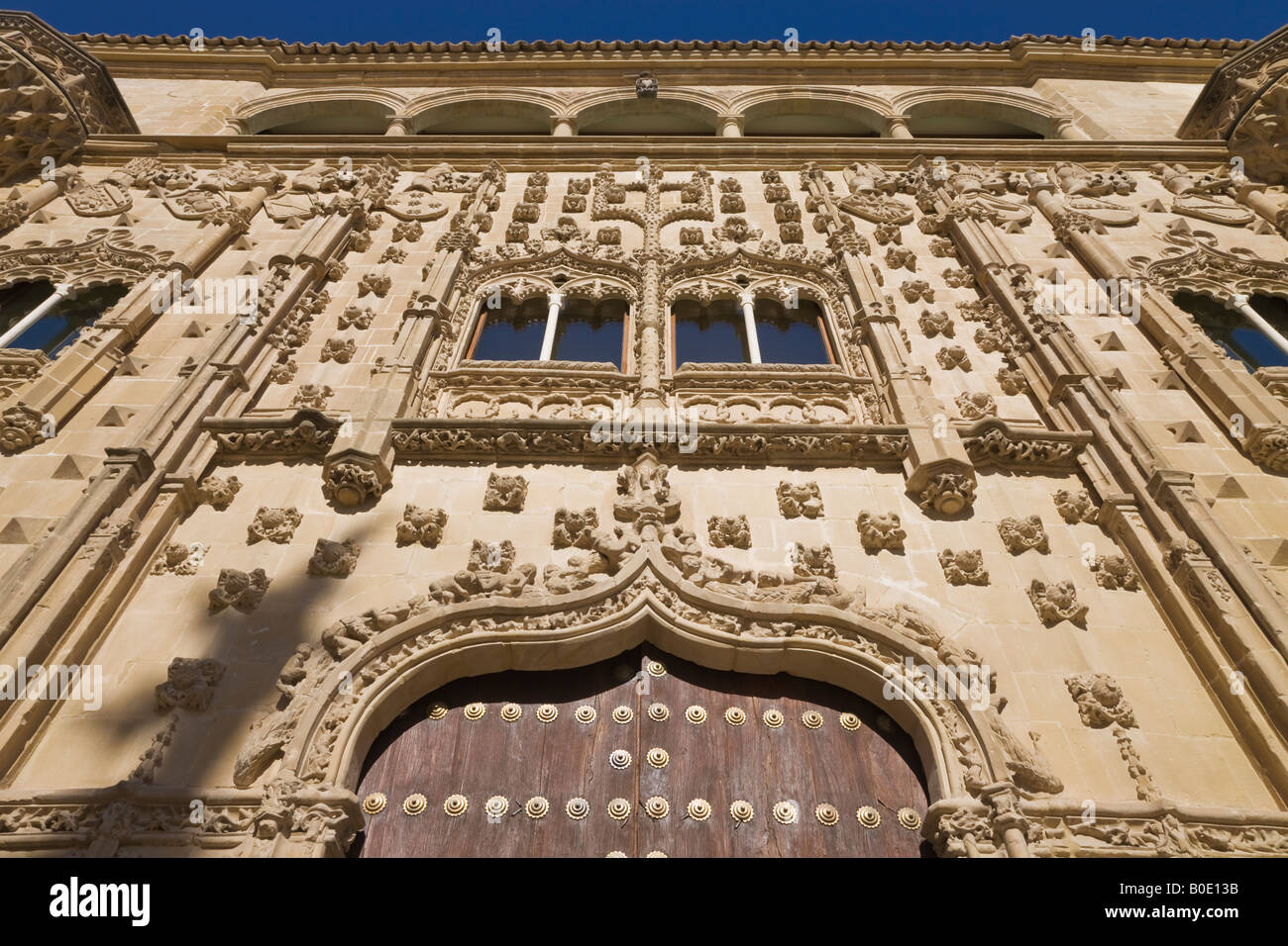 Baeza Jaen Province Spain Facade of Universidad Internacional de Andalucia Antonio Machado in the Palacio de Jabalquinto - Stock Image